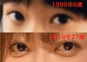 指原莉乃の目1999年と2019年の比較
