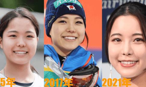 高梨沙羅の輪郭(あご)の変化2015年2017年2021年